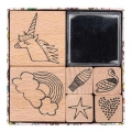 Set of 6 wooden stamps with inkpad - Magical Summer Rainbow