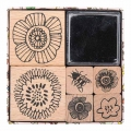 Set of 6 wooden stamps with inkpad - Magical Summer Flowers