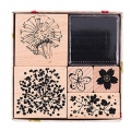 Set of 5 wooden stamps with inkpad - Bouquet Wild Flowers