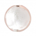 Silver foil Murano flat round 18 mm Rosaline x1