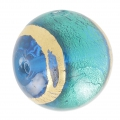 Round Murano Aquamarine surrounded with gold 18 mm x1
