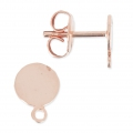 Flat pad earstuds 6 mm  Rose Gold Tone x2