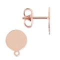 Flat pad earstuds 8mm Rose Gold Tone x2