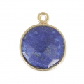 925 Sterling Silver Pendant 12 mm faceted gemstone Gold Plated / Lapis x1