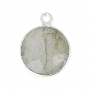 925 Sterling Silver Pendant 12 mm faceted gemstone / Labradorite x1
