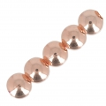 Brass Round beads European manufacture 8 mm Rose Gold Tone x5