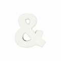 Small papier mache symbol & - 7 x 5.5 cm to decorate - White
