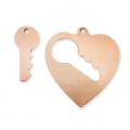 Copper pendant base for enamel Powder Efcolor 28x26mm heart x1
