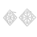 925 Sterling Silver square geometric decor earstuds 13 mm x 2