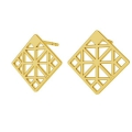 925 Sterling Silver square geometric decor earstuds 13 mm Gold Tone x 2
