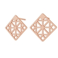 925 Sterling Silver square geometric decor earstuds 13 mm Rose Gold Tone x 2