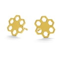 925 sterling silver earstuds 10 mm Gold Tone x 2