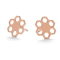 925 sterling silver earstuds 10 mm Rose Gold Tone x 2