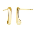 925 Sterling Silver drops earstuds 13.5 mm Gold Tone x 2