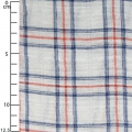 Checked cotton Fabric  Lexielu - Coral/Navy blue/silver x10cm