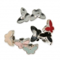 Butterfly Button CCB 13.3 mm Red/rhodium tone x1