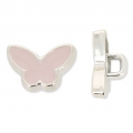 Butterfly Button CCB 13.3 mm Light Pink/rhodium tone x1