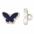 Butterfly Button CCB 13.3 mm Navy Blue/rhodium tone x1