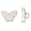Butterfly Button CCB 13.3 mm White/rhodium tone x1