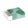 Gift box fancy jewel case 9,3x9,3x3 cm Jungle Green philodendron leaf