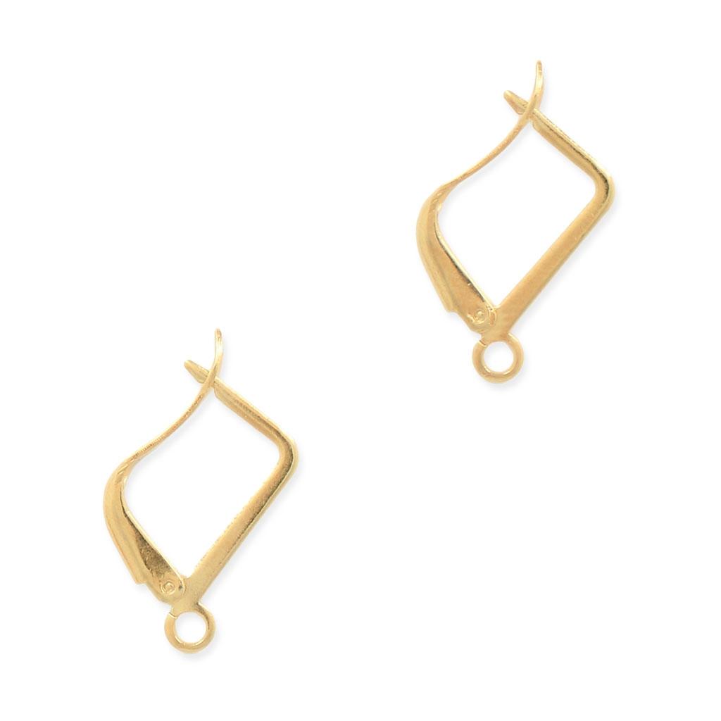 Leverback earrings design rectangle shape 15 mm Gold Tone x2 ...