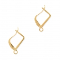 Leverback earrings design rectangle shape 15 mm Gold Tone x2
