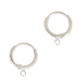 Leverback earrings design round shape 15.6 mm argenté vieilli x2