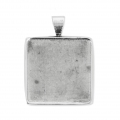 Stainless steel setting/pendant for 20 mm square flat back cabochon x1