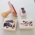 Stamp with wooden base Flamingo 6x 5 cm Flower x1