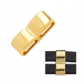 Double square slider bead 25x9.5 mm for 10 mm laces - Gold Tone