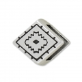 Slider bead ethnic decor  13.5x16.5 mm for 10 mm lace - Old Silver Tone