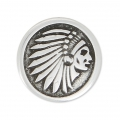 Round slider bead head of indian 17 mm for 10 mm lace - Old Silver Tone