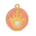 Charm hand of fatma epoxy resin 20 mm Pink Coral/gold tone