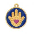 Charm hand of fatma epoxy resin 20 mm Navy blue/gold tone