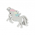 Charm unicorn epoxy resin 17x25 mm Pastel/Old Silver Tone