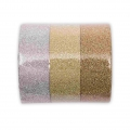 Assortment of 3 Paper Poetry adhesive tapes Glitter Gold/Silver Tone x1