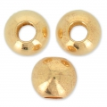 Flat brass round bead with large hole European Manufacture 8x7 mm Gold Tone x 6