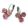 Leverback Earrings for Swarovski Cabochons 1028/1088 6 mm Silver Tone x2