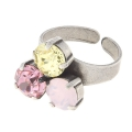 Ring for 3 Swarovski cabochons 1028/1088 8 mm Silver tone