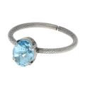 Ring for 3 Swarovski cabochon 4122 8x6 mm Silver tone