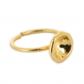 Ring solitaire for cabochon Swarovski 1028/1088 8 mm Gold tone