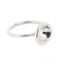 Ring solitaire for cabochon Swarovski 1028/1088 8 mm Silver tone