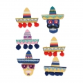 Board of 6 3D stickers 55-40 mm Mexican hat pompon