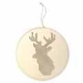 Wooden wall suspension to embroider 22 cm - Reindeer