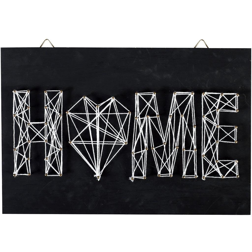 String Art Kit Home Shape Rectangle Black Wood 30x20 Cm For Diy