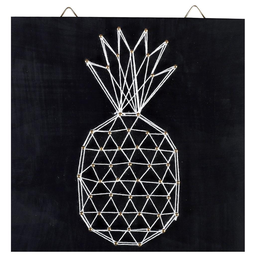 String Art: String Art Kit Pineapple Shape Rectangle Black Wood 22x22