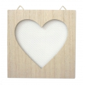 Wooden frame with grid to personalize - 20 x 20 cm - Heart