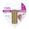 Synthetic metallic cord 1 mm Gold tone x 25 m
