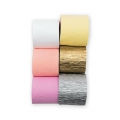 6 crepe paper tapes for festive decoration by Yey - Pastel/Silver/Gold