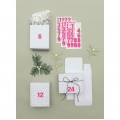 24 Advent Calendar boxes - Paper Poetry - X-Mas - White Stars Silver Tone